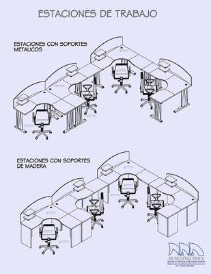 Dibujos y planos de muebles de oficina