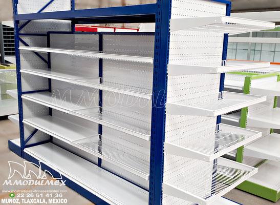Góndolas metálicas para supermercado para exhibición y almacenaje, Anaqueles para tiendas, muebles para tiendas, muebles para negocios
