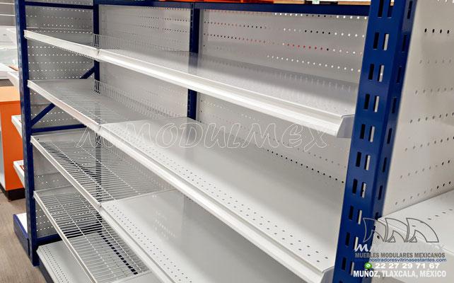 Góndolas metálicas para supermercado para exhibición y almacenaje, Anaqueles para tiendas, muebles para tiendas, estantes metálicos