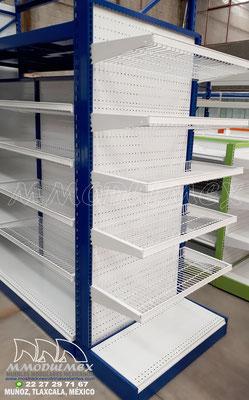 Góndolas metálicas para supermercado para exhibición y almacenaje, Anaqueles para tiendas, muebles para tiendas