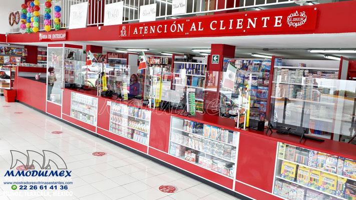 Mostradores, anaqueles, vitrinas para papelerías y farmacias