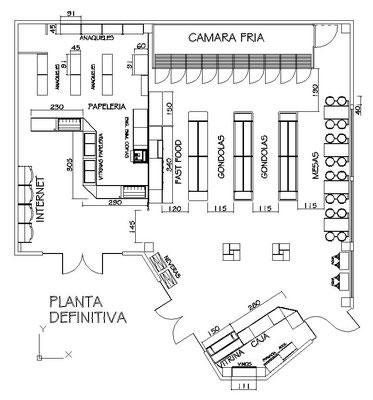 planos de tiendas, papelerías y farmacias