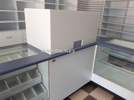 Muebles para farmacia, mostradores para farmacia, vitrinas para farmacia, muebles para papelería, mostradores para papelería, vitrinas para papelería