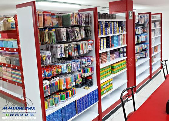 mostradores para papelería, estantes y anaqueles para papelería, vitrinas para papelería