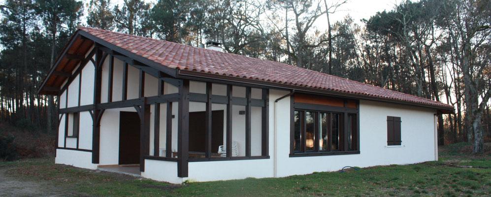 Maison neuve de style landais- Construction Bernard Lacaze et Fils