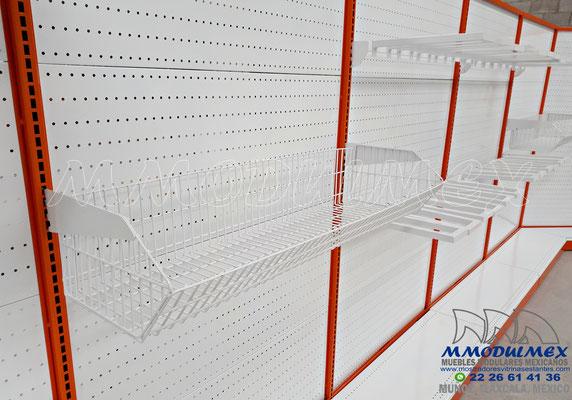 Góndolas metálicas para ferretería, entrepaños metálicos, repisas metálicas, estantería metálica para ferretería, anaqueles metálicos