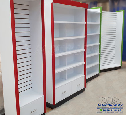 Anaqueles de madera para farmacias y papelerias
