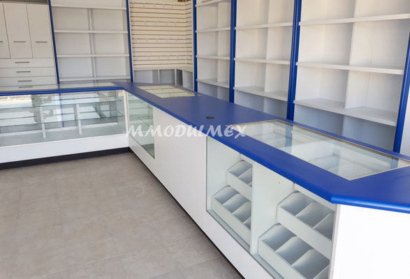 Mostradores y vitrinas de madera para tiendas, papelerías y farmacias