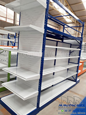 Góndolas metálicas para supermercado, góndolas de doble propósito para exhibición y almacenaje, racks para supermercados, muebles para tiendas