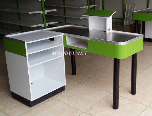 Mueble de caja check out, mostradores para supermercado, cajas para supermercado, muebles de cobro para supermercado, cajas para minisuper