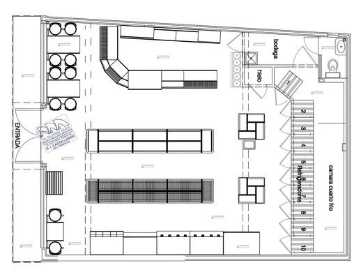 Layout de tienda de conveniencia, dibujo de minisuper, planos de tiendas