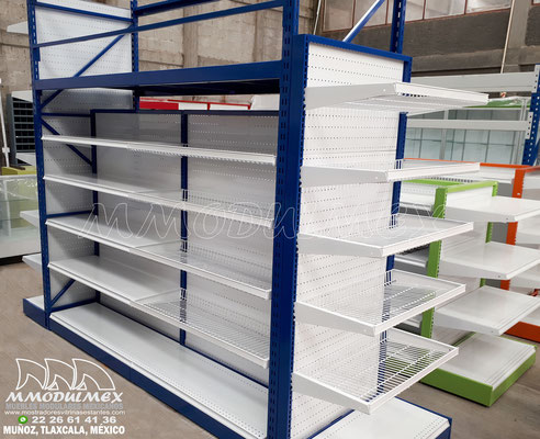 Góndolas metálicas para supermercado, góndolas de doble propósito para exhibición y almacenaje, racks para supermercados, estantería metálica