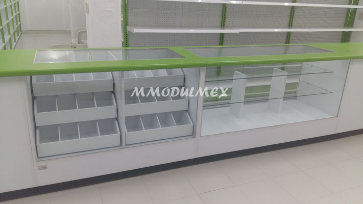 Vitrinas para farmacia, vitrina para papelería, vitrina exhibidora, vitrina mostrador, vitrinas de cristal