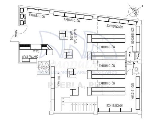 Layout de tienda de conveniencia, dibujo de minisuper, planos de tiendas, planos para supermercado
