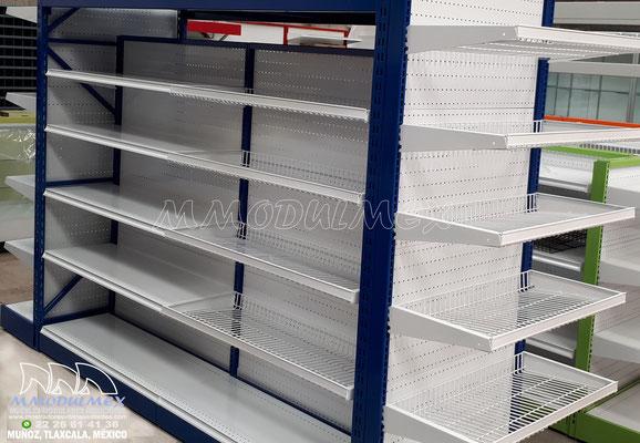 Góndolas metálicas para supermercado, góndolas de doble propósito para exhibición y almacenaje, racks para supermercados