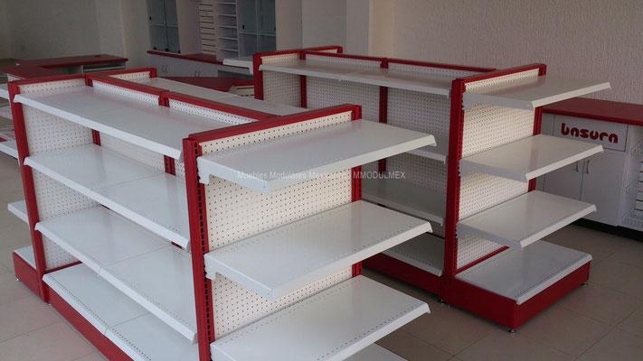 Góndolas metálicas para tiendas tipo Oxxo
