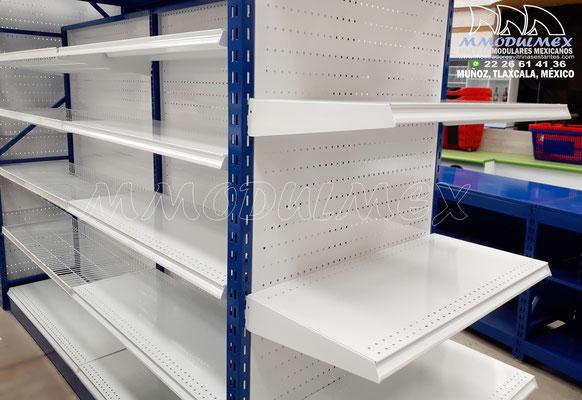 Góndolas metálicas para supermercado, góndolas de doble propósito para exhibición y almacenaje, racks para supermercados, muebles de tiendas
