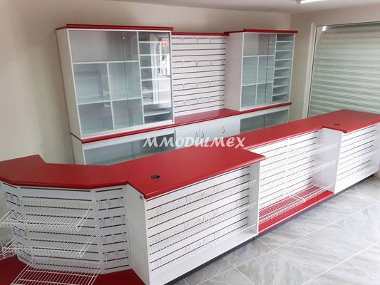 Mostradores de madera para tiendas, papelerías y farmacias