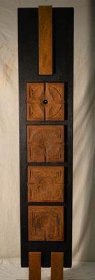 Stele - 4 Motive Holz-Eisen gebrannt/ geschwärzt 220 x 40 cm