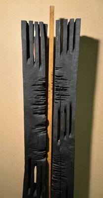 Stele Holz- Eisen gebrannt 3-teilig 215 x 45 cm