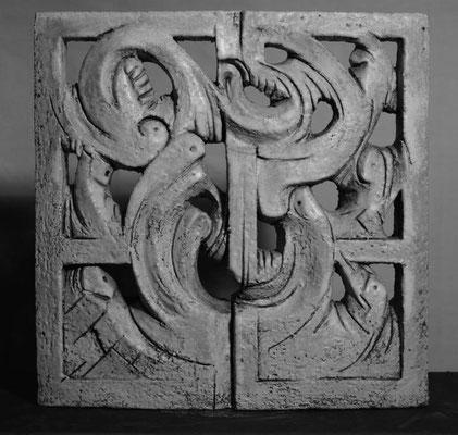 Relief glasiert/ Roststaub 37 x 37 cm