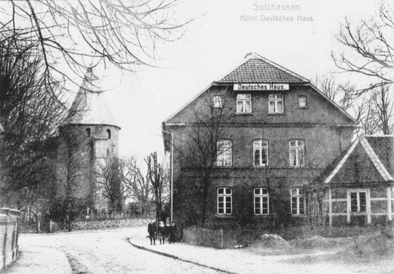 Hotel Deutsches Haus,  Im kleinen Anbau war später die Telefonzentrale der Post untergebracht, die erste Selbstwählanlage Deutschlands (Foto private Sammlung)