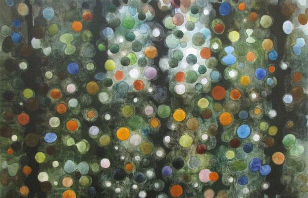 Gouden regen 80x120 cm aquarel op doek