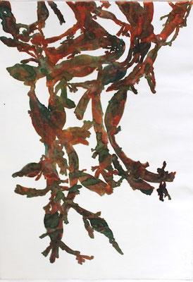 Gevonden wier     aquarel op geprepareerd textiel  100 x 70
