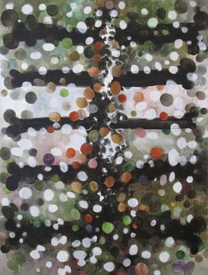 Uitbotten    120x90 cm aquarel op doek