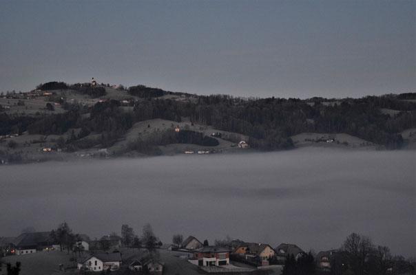 Nebel im Kremstal (Blick vom SPES/Schlierbach nach Magdalenaberg)