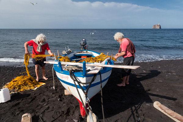 Pêcheurs de Stromboli, Iles Eoliennes, Italie