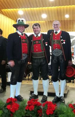 Jakob Vötter, Josef Grasl und Norbert Brunner wurden für 25 Jahre Mitgliedschaft geehrt