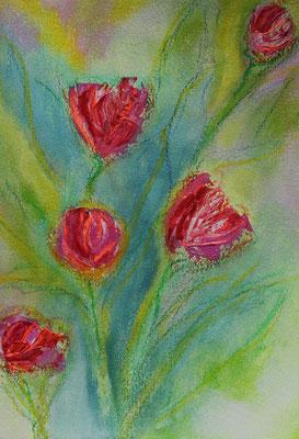 fertiggestellt 2020 - Titel: abstrahierte Tulpen 1 - Format einschließlich Passepartout 30 x 40 cm - Preis 60,00 € -