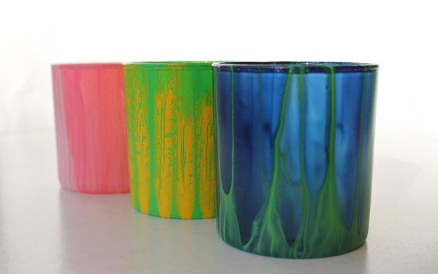 Teelichtgläser - Format: H 9 cm, Durchmesser 8 cm, Preis je 10,00 €