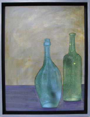 fertig gestellt 2019 - Titel: Flaschen 3 - Format 34 x 43,5 cm - Preis mit Rahmen 140,00 €