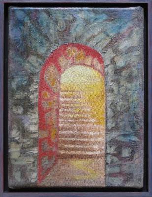 fertig gestellt 2020 - Titel: Treppe ins Licht - Format 34 x 43,5 cm - Preis mit Rahmen 150,00 €