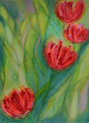 fertiggestellt 2020 - Titel: abstrahierte Tulpen 3 - Format einschließlich Passepartout 30 x 40 cm - Preis 60,00 €