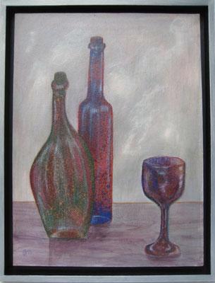 fertig gestellt 2019 - Titel: Flaschen 2- Format 34 x 43,5 cm - Preis mit Rahmen 140,00 €