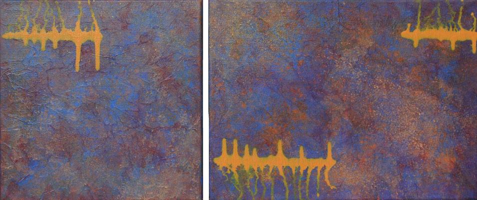 fertig gestellt 2013 - Titel: Herzklopfen - 2 Bilder - Format 30 x 30 cm und 30 x 40 cm - verkauft