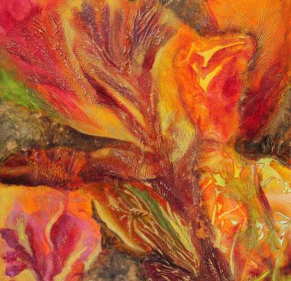 fertig gestellt 2017 - Titel: Red Flowers - Format 50 x 50 cm - verkauft