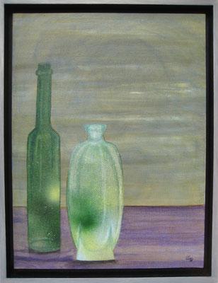 fertig gestellt 2019 - Titel: Flaschen 1 - Format 34 x 43,5 cm - Preis mit Rahmen 140,00 €