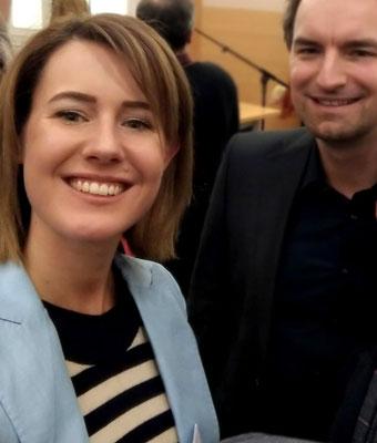Claudia Gamon und Dietmar Pichler auf der Diplomatischen Akademie in Wien