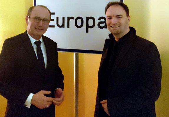 MEP Dr. Othmar Karas und Dietmar Pichler im Bürgerforum Europa