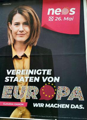 NEOS Wahlplakat zur Europawahl 2019