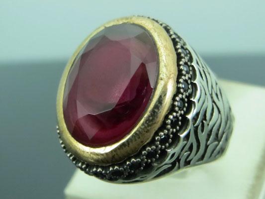 кольца и серьги с рубином в серебре
