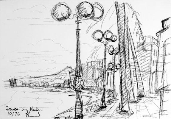 Im Hafengebiet von Xabia, Spanien, Graphit auf Papier 40 x 30 cm