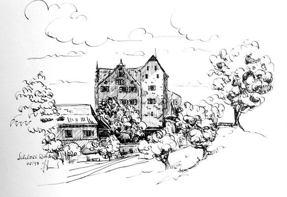 Schloss Wildegg, Tusche auf Halbkarton, 30 x 40 cm