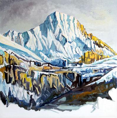 Lauterbrunnen Berithorn von Wengen aus 80 x 80 Öl auf Leinwand