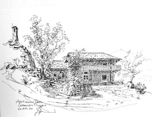 Agriturismo im Piemont, Tusch auf Papier 40 x 30 cm