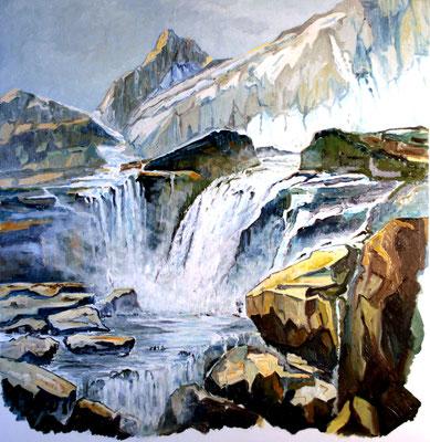 Schneeschmelze im Oberhasli 80 x 80 Öl auf Leinwand (verkauft)